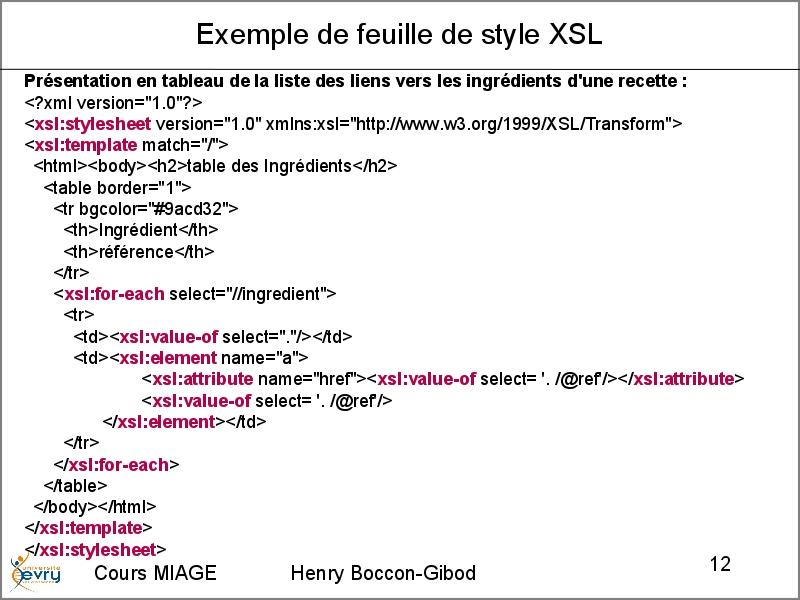 exemple de xsl